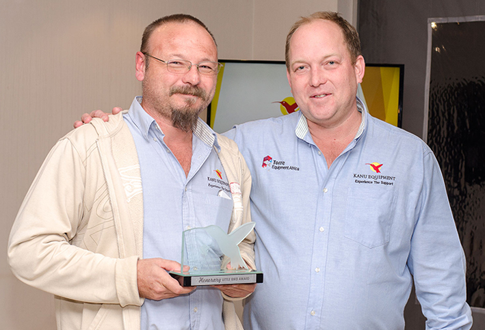 William Ball accepts his Honorary Little Bird Award trophy