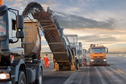 When pavements need to be replaced, cold milling machines remove the damaged courses.